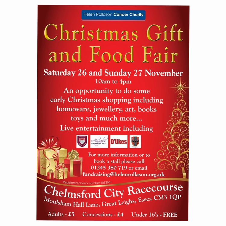 CHRISTMAS GIFT AND FOOD FAIR, Chelmsford Racecourse 26th and 27th November 2016 10am to 4pm